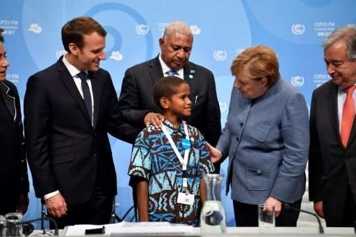 Twelve-year-old Timoci Naulusala from Fiji, a nation disappearing under rising seas, delivered a testimonial to ministers and he