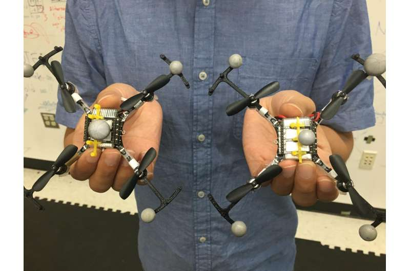 Virtual top hats allow swarming robots to fly in tight formation