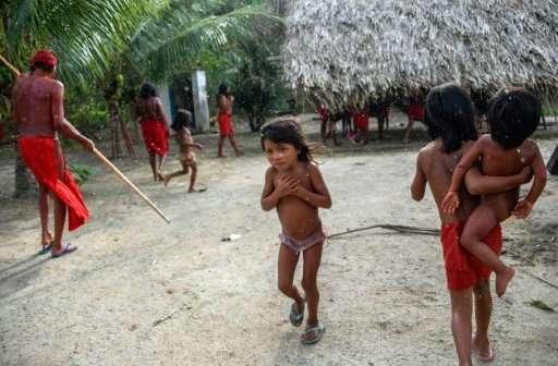 Waiapi children in Manilha village in Brazil's Amapa state