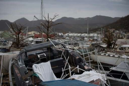Wrecked boats line the  Geminga shipyard in Saint Martin after Hurricane Irma.  Officials on the island of Guadeloupe, where Fre