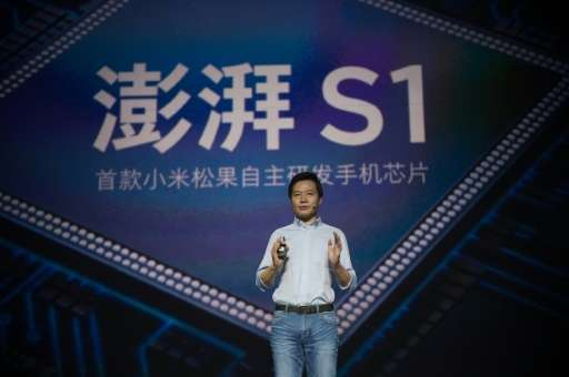 Xiaomi chairman Lei Jun presents the new Surge S1 chipset in Beijing on February 28, 2017