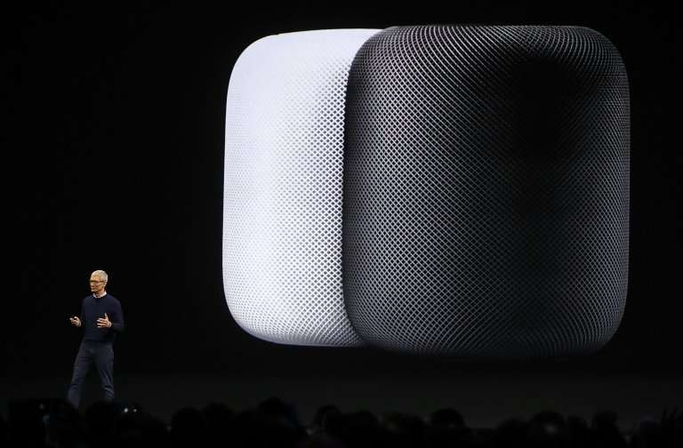 Apple CEO Tim Cook is seen at a presentation on June 5, 2017 with an image of the new HomePod connected speaker, which is ready