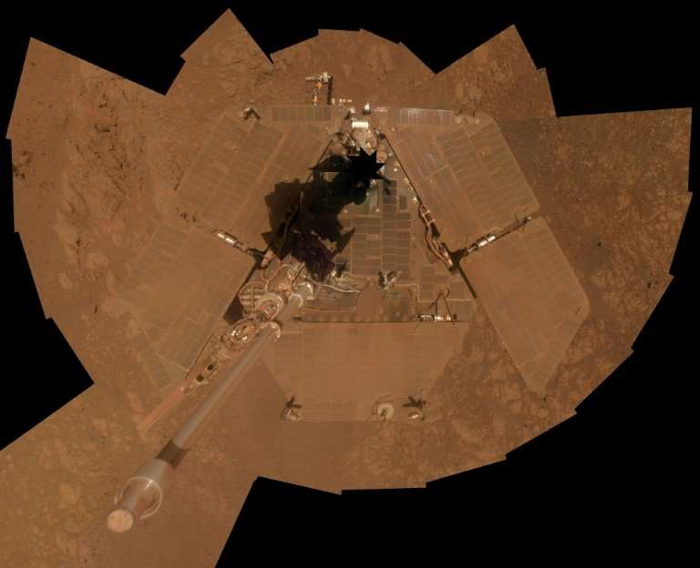 A self-portrait by NASA's Mars Exploration Rover Opportunity, seen from above, released in January 2014