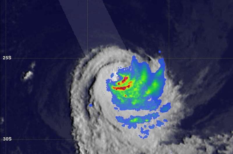 GPM satellite finds rainfall pushed away from Tropical Cyclone Cebile's center