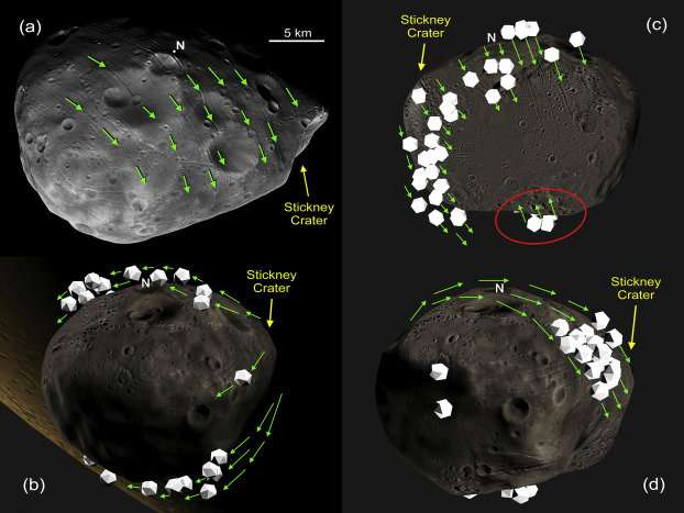 Mars moon got its grooves from rolling stones, study suggests