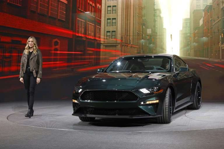 Molly McQueen, the granddaughter of actor Steve McQueen, introduces the 2018 Ford Mustang Bullitt as it makes its debut at the 2