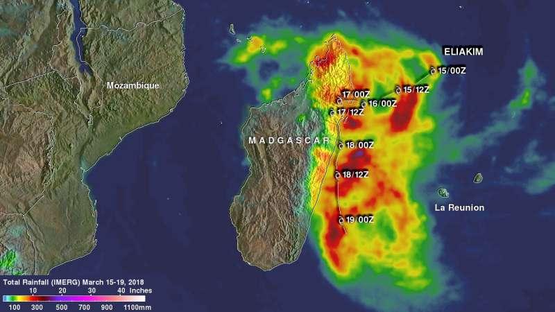 NASA analyzes Tropical Cyclone Eliakim's rainfall, wind shear now affecting storm