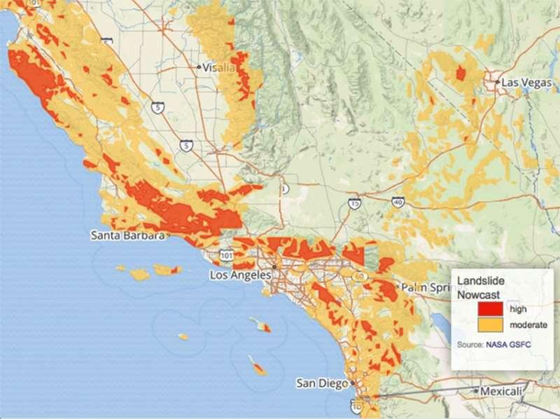 NASA calculated heavy rainfall leading to California mudslides