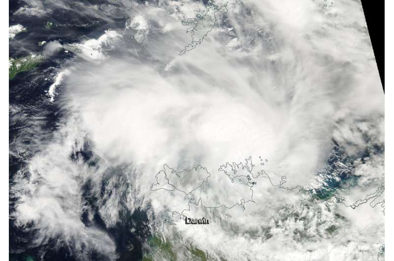 NASA satellite finds Tropical Cyclone Marcus near Australia's Cobourg Peninsula Coast