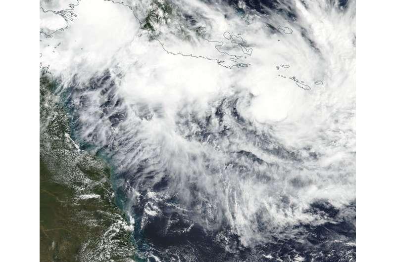 NASA sees ex-Tropical Cyclone Iris now better organized