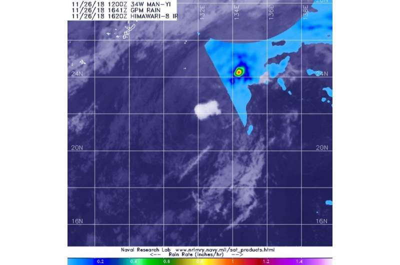 NASA's GPM shows small area of heavy rain in Tropical Storm Man-yi