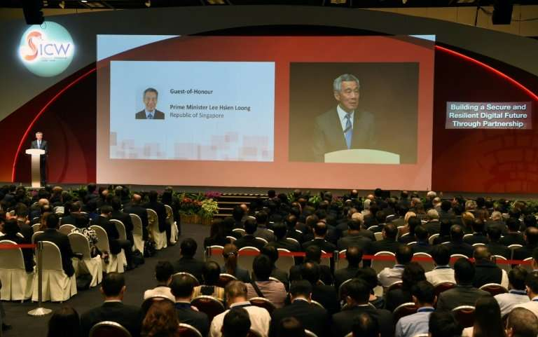 Prime Minister Lee Hsien Loong speaks at Singapore's inaugural Cyber Week in 2016: the defence ministry has now held an unusual