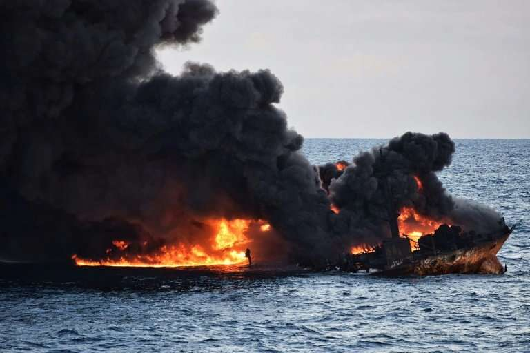Smoke and flames were seen coming from the burning oil tanker Sanchi at sea off the coast of eastern China earlier this month