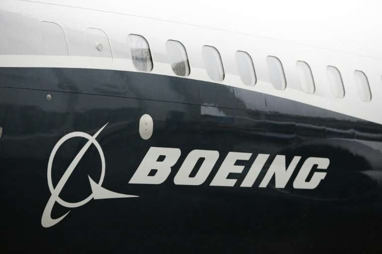 The Boeing logo on the first Boeing 737 MAX 9 airplane is pictured during its rollout for media in March 2017