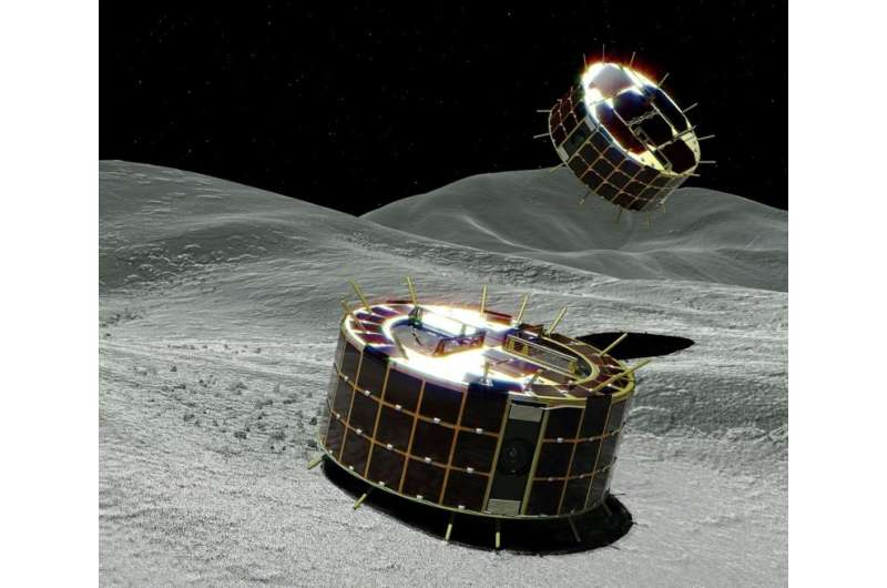 The rovers will jump around on the surface—soaring as high as 15 metres and staying in the air for as long as 15 minutes