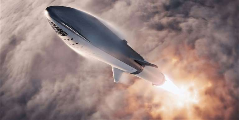 This artist's illustration, courtesy of SpaceX, shows the SpaceX BFR (Big Falcon Rocket) rocket passenger spacecraft