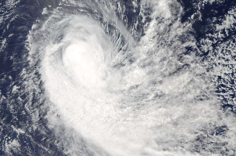 Tropical Cyclone Irving appears elongated in NASA imagery