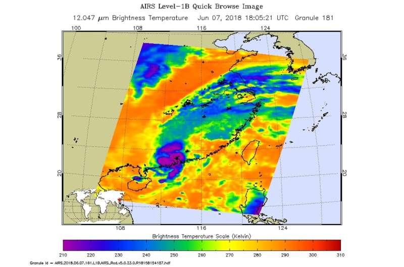 Tropical Storm Ewiniar landfall in China seen by NASA's Aqua satellite
