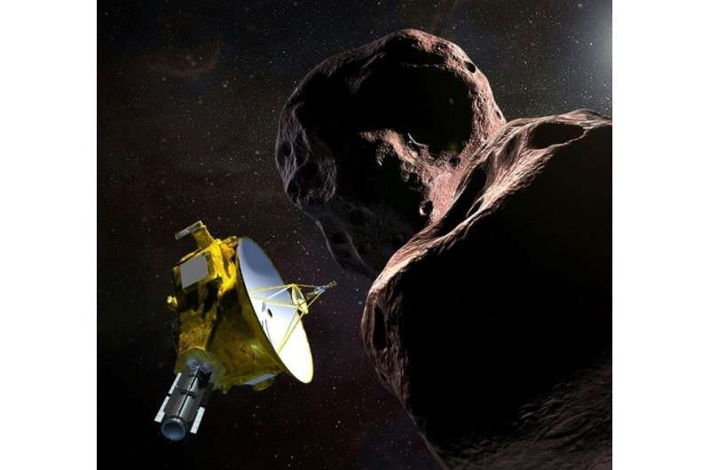 """This artist's illustration obtained from NASA shows the New Horizons spacecraft encountering 2014 MU69 – nicknamed """"Ultima"""