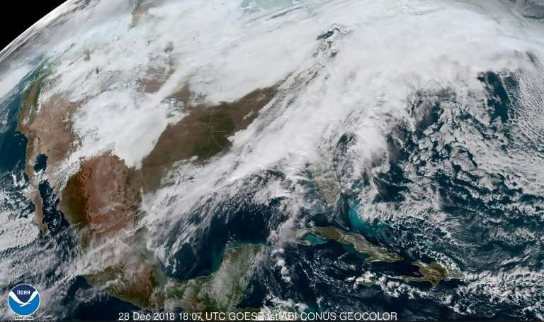 This December 28, 2018 satellite image obtained courtesy of the National Oceanic & Atmospheric Administration (NOAA) shows s