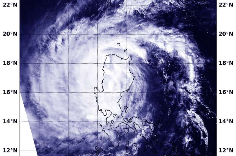 NASA's Aqua Satellite captures Typhoon Yutu exiting the Northern Philippines