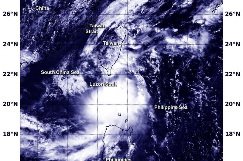 NASA sees Tropical Storm 27W moving through Luzon Strait