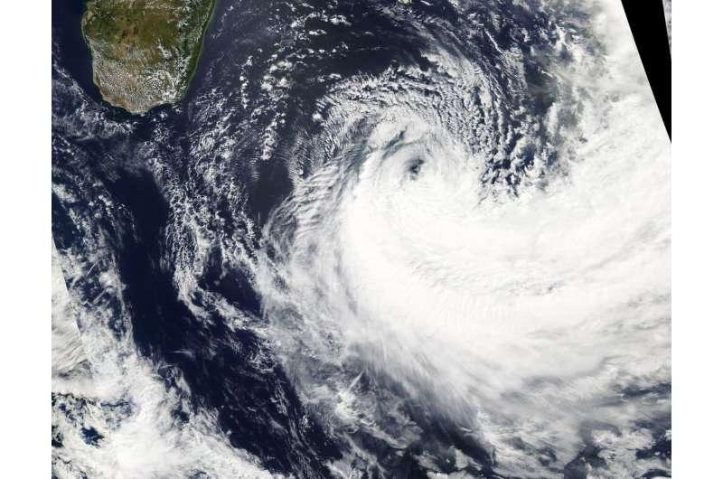 NASA's Aqua Satellite finds Dumazile sheared