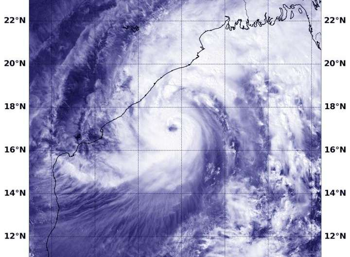 Satellite sees Tropical Cyclone Titli nearing landfall in Northeastern India