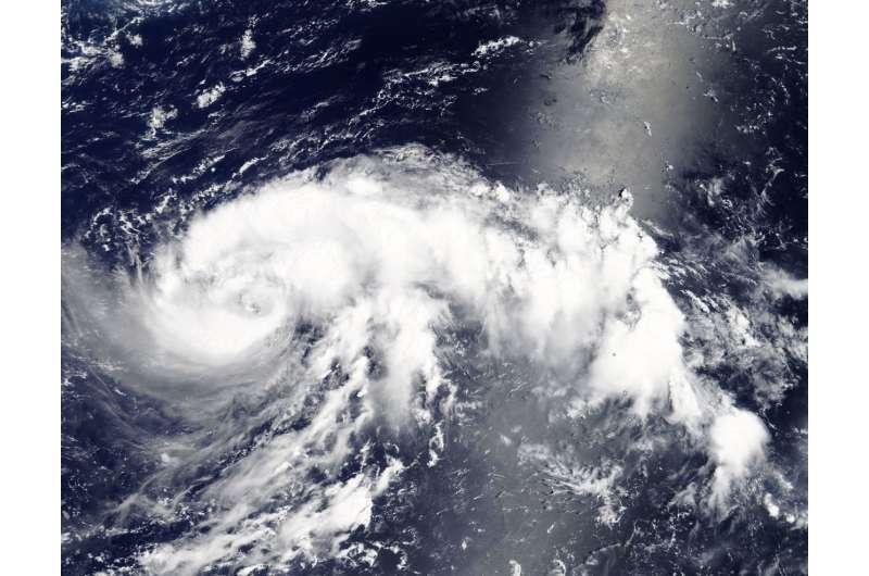 Tropical Storm Jongdari more organized in NASA's Terra satellite imagery