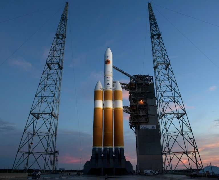 This handout photo released by NASA shows the United Launch Alliance Delta IV Heavy rocket with the Parker Solar Probe onboard s