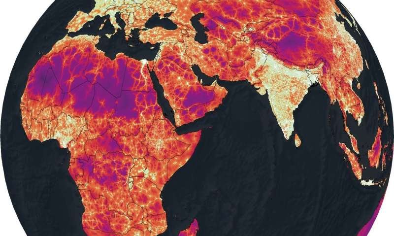 Maps that show travel times to cities all across the globe