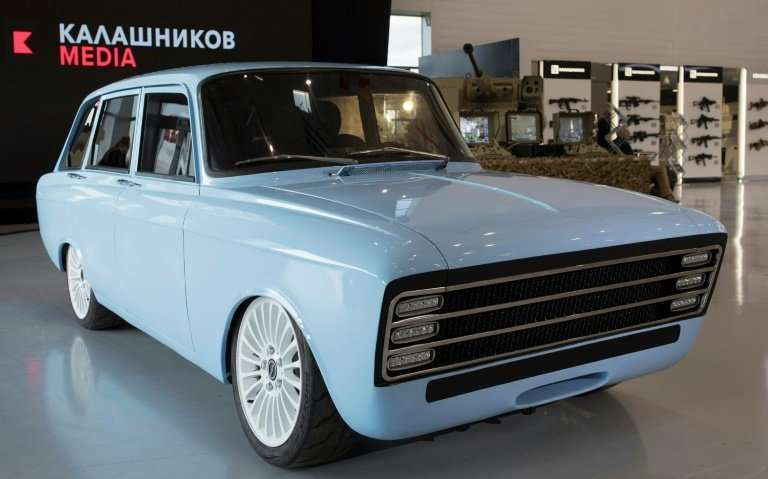 A handout picture taken on August 22, 2018 and released by Kalashnikov media press office,  shows a retro-looking pale blue prot
