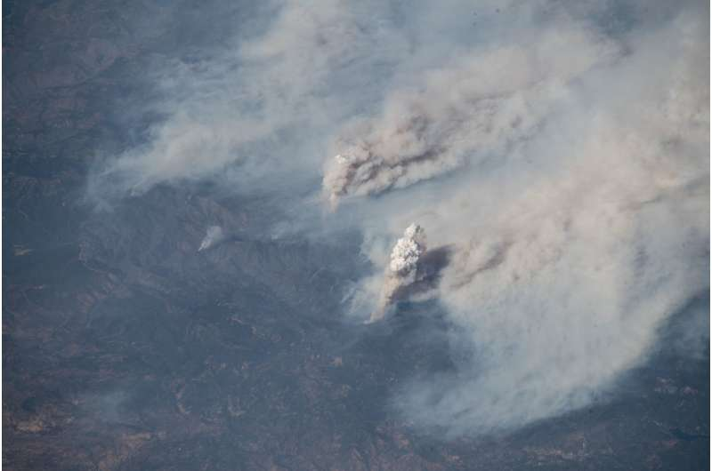 California fires as seen from the space station
