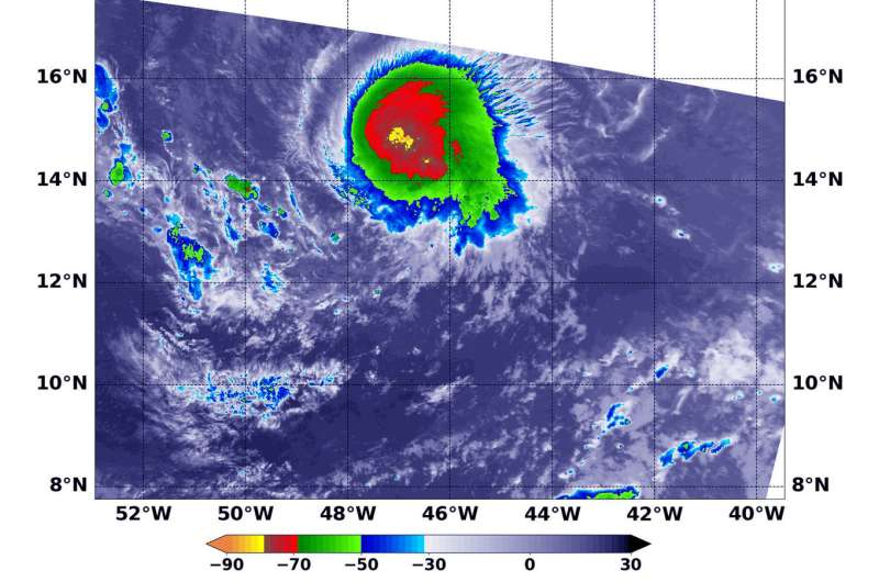 NASA finds wind shear pushing on Tropical Storm Isaac's center