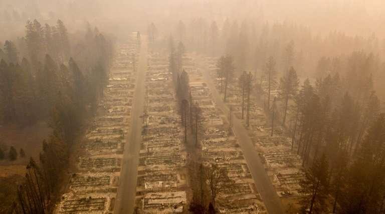 A burned neighborhood in Paradise, California, November 15, 2018