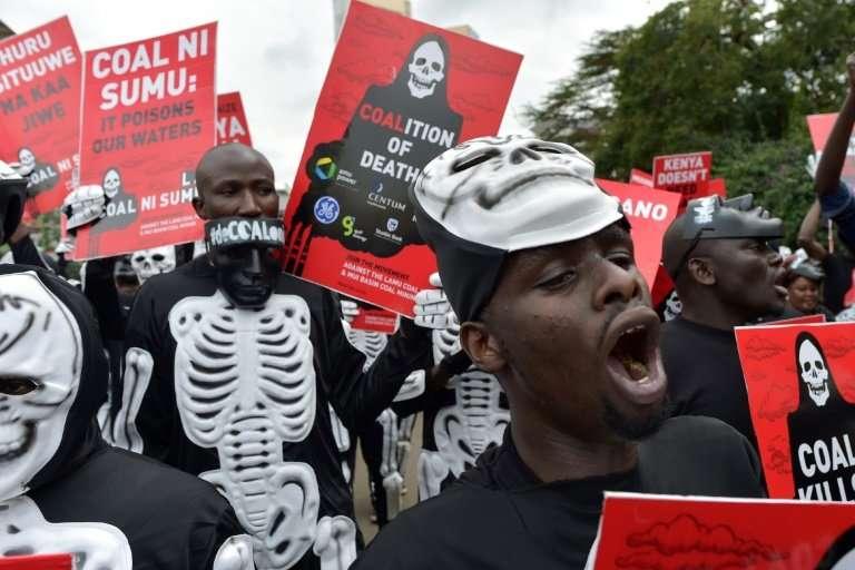An anti-coal protest in Lamu, Kenya, where China has financed a coal-fired project