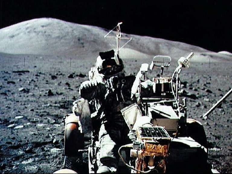 A NASA picture taken by US crew commander Eugene A. Cernan during the Apollo 17 mission on December 13, 1972 shows astronaut and