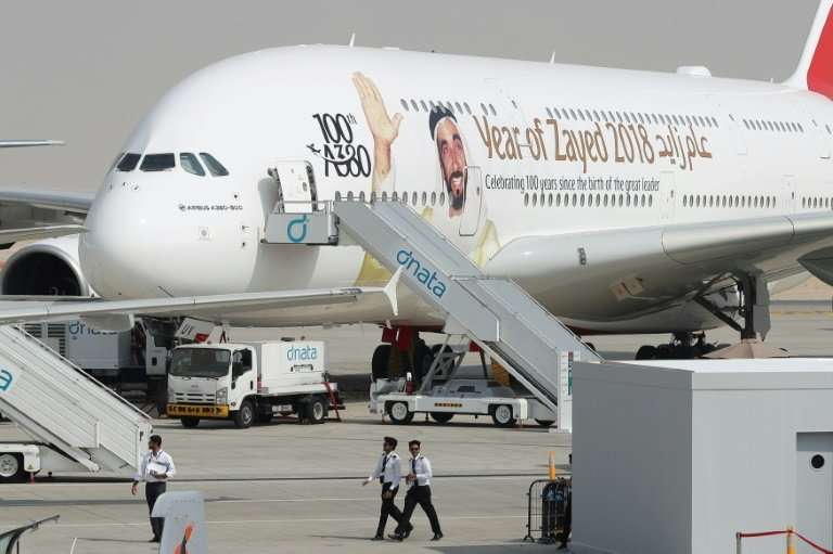 An Emirates Airbus A380 bearing the portrait of the UAE's founder and president, the late Sheikh Zayed bin Sultan al-Nahayan, ap