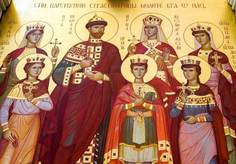 An Orthodox icon of the last Russian tsar and his  family in a cathedral  built on the exact place where the Bolsheviks executed