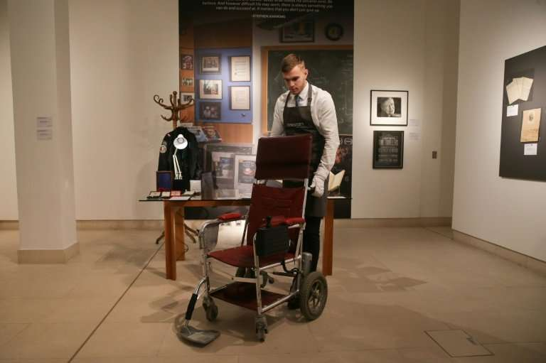 Another auction highlight is a red leather wheelchair which Hawking used from the late 1980s to the mid 1990s, driving himself u