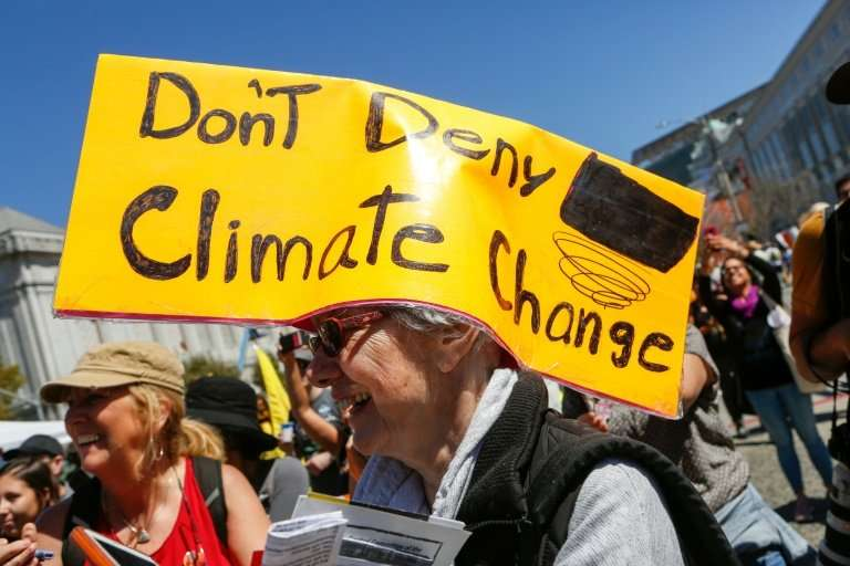 A scene from this month's 'Rise For Climate' event in San Francisco, which took place as as a monster hurricane bore down on the