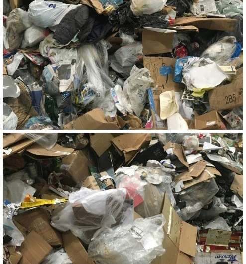 At the top, an unrecycled trash pile at the Fort Totten Transfer Station. At the bottom, a pile of recyclable waste, still conta