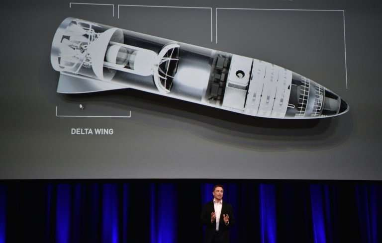 "Billionaire and SpaceX founder Elon Musk displays a computer generated illustration of his new ""BFR"" rocket, conceived"