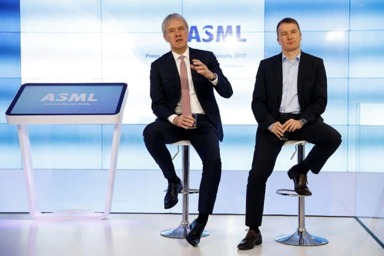 CEO Peter Wennink (L) and CFO Wolfgang Nickl (R) of Dutch chip equipment manufacturer ASML attend the presentation of the annual