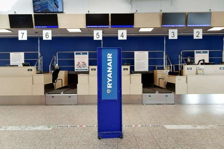 Empty Ryanair check-in counters at Skavsta Airport in Sweden on August 10, 2018
