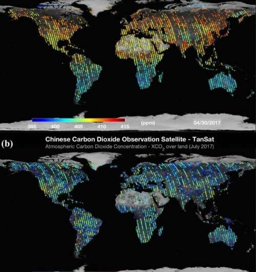 First global carbon dioxide maps produced by Chinese observation satellite