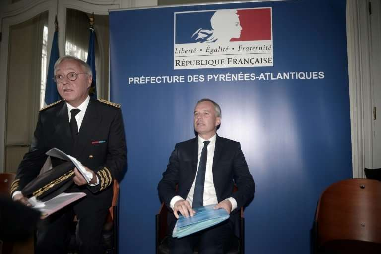 Francois de Rugy, seen on the right, said the plan to release two more female bears on the Pyrenees would go ahead as planned
