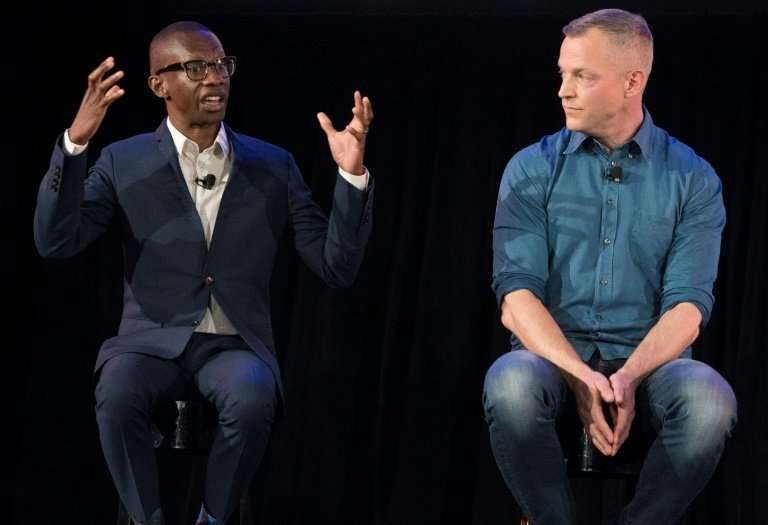 Gustav Soderstrom, Spotify Chief Research and Development Officer (R), shown with Spotify's Troy Carter, Head of Creator Service