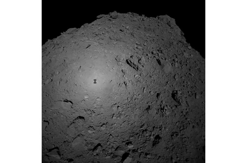 Hayabusa2's shadow seen on the surface of the Ryugu  asteroid it is studying