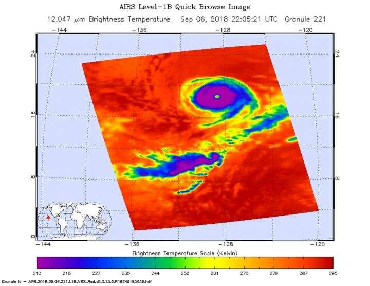 Hurricane Olivia's eye obvious from NASA's Aqua satellite